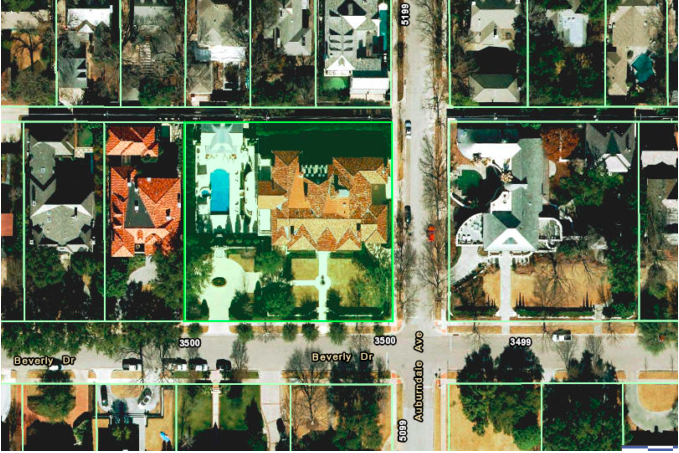 overhead view of highland park map beverly drive